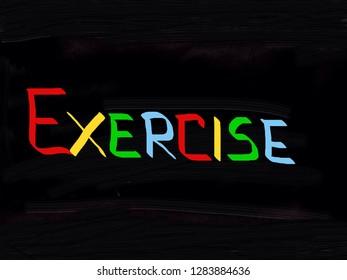 Exercise handwritten on blackboard