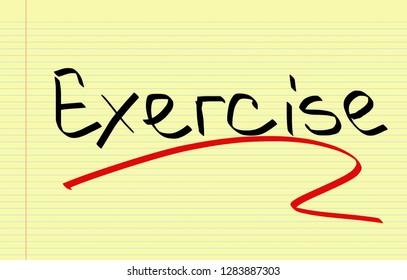 Exercise handwritten on notebook paper