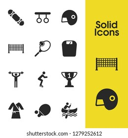 Exercise icons set with award, kimono and racquetball elements. Set of exercise icons and freestyle concept. Editable  elements for logo app UI design.