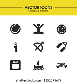 Exercise icons set with meditation, sports and boxing helmet elements. Set of exercise icons and timer concept. Editable  elements for logo app UI design.