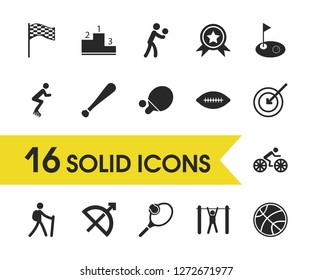 Exercise icons set with racing flag, ping pong and racquetball elements. Set of exercise icons and baseball stick concept. Editable  elements for logo app UI design.