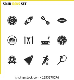 Exercise icons set with star medal, tourniquet and badminton ball elements. Set of exercise icons and pullups concept. Editable  elements for logo app UI design.