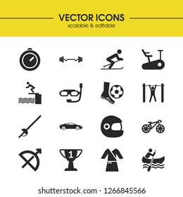 Exercise icons set with tourniquet, barbell and bike elements. Set of exercise icons and trophy concept. Editable  elements for logo app UI design.