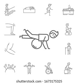 Exercise, physiotherapy, ball icon. Physiotherapy icons universal set for web and mobile