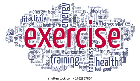 Exercise word cloud isolated on a white background