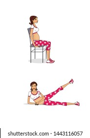Exercises for pregnant women. Strengthening the muscles of the pelvic floor and vagina. Preparing for childbirth. Isolated on white background