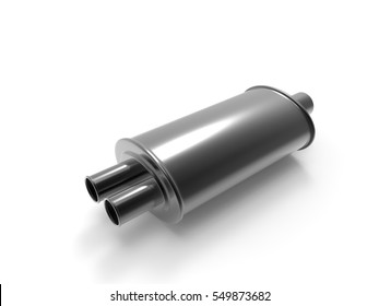 Exhaust pipe on white background. 3D rendering