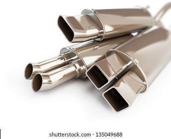 exhaust silencer automobile muffler. 3d Illustrations on a white background