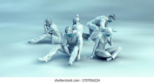 Exhausted Medical Staff Frontliners Devastated 3D Render