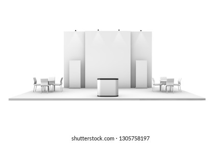 exhibition booth trade show 3d rendering isolated