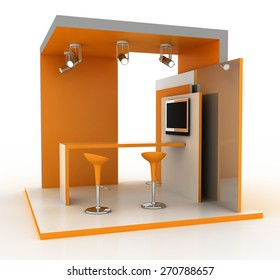 Exhibition kiosk. Copy space image, three dimensional render. Original models.
