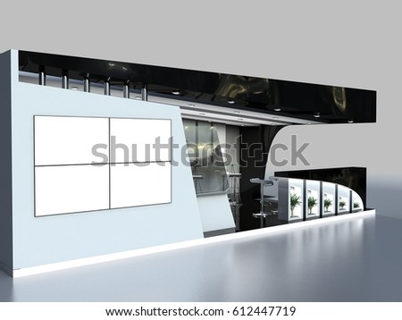 Corner Exhibition Stands Day : Exhibition stand 3 d rendering corner stock illustration royalty