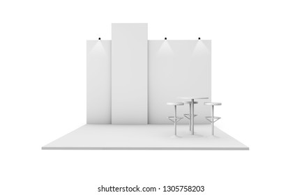 exhibition stand 3d rendering isolated