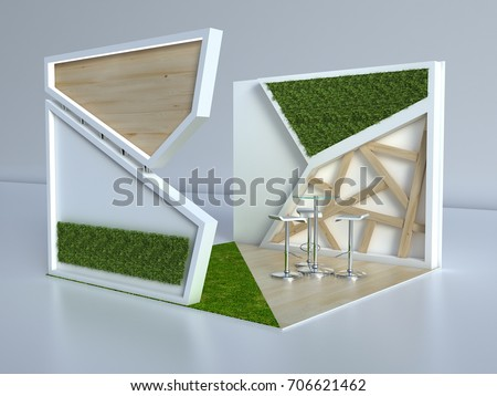Small Exhibition Stand Years : Exhibition stand 3 d small wood grass stock illustration 706621462