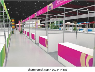 Exhibition stand Asean modern design used for mock-ups and branding and Corporate identity.3d illustration