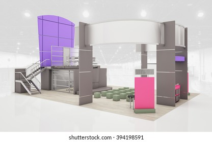 Exhibition Stand in brown and violet  colors 3d Rendering