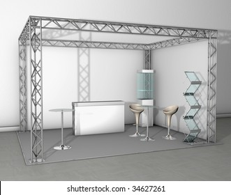 Exhibition stand with counter and chairs