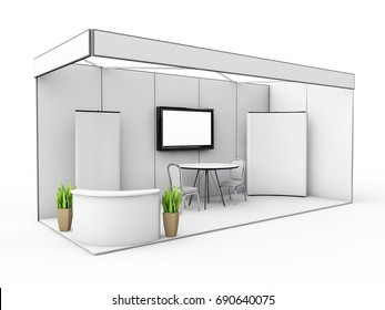exhibition stand mock up, 3d illustraton
