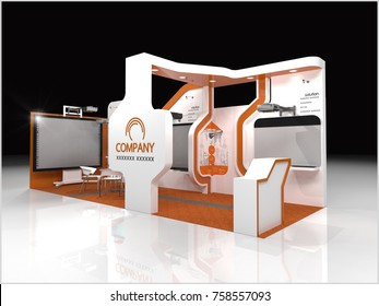 Exhibition stand modern design and Stage used for mock-ups and branding and Corporate identity.3d illustration