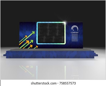 Exhibition stand modern design and Stage used for mock-ups and branding and Corporate identity. 3d illustration