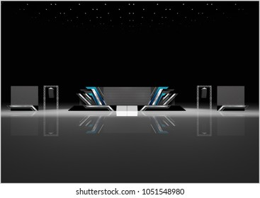 Exhibition stand modern design used for mock-ups and branding and Corporate identity.3d illustration