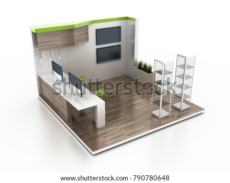 Exhibition D Model Free : Exhibition stand on white original d stock illustration