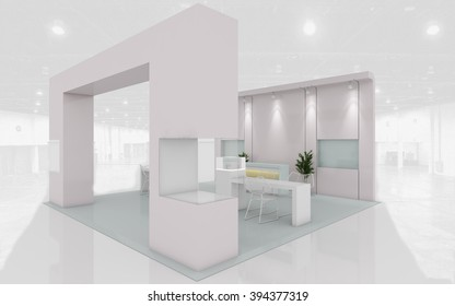 Exhibition Stand in Pastel colors 3d rendering