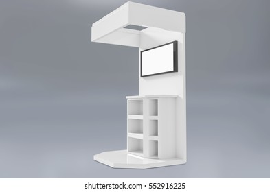 Exhibition stand plain with screen used for mock-ups and branding and Corporate identity.3d illustration