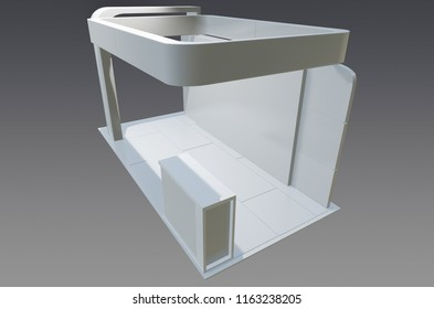 Exhibition stand plain , used for mock - ups and branding ,corporate identity . 3d illustration