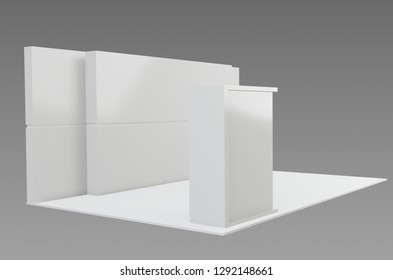 Exhibition stand plain , used for mock - ups and branding ,corporate identity . 3d illustration,