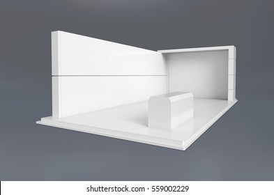 Exhibition stand plain used for mock-ups and branding and Corporate identity.3d illustration