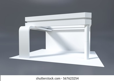 Exhibition stand plain used for mock-ups and branding and Corporate identity.Retail stand and booth design .3d illustration