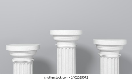 Exhibition stand, podium in the form of  classic Greek Doric pillars. Minimalistic light background with copy space. 3d render illustration for advertising goods, products, museum expansions.