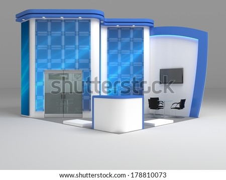 Exhibition Stand Design Concepts : Exhibition stand render model expo yellow stock illustration