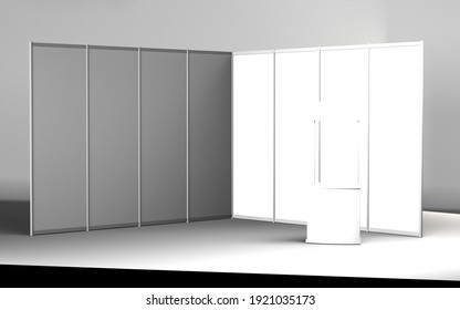 Exhibition stand, Exhibition round, 3D rendering of exhibition equipment, Advertising space on a white background, with space for text ads