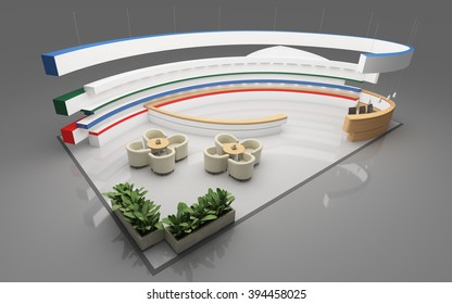 Exhibition Stand with round shape   3d rendering