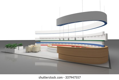 Exhibition Stand With A Round Wall 3d Rendering
