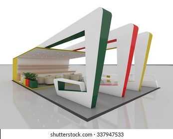 Exhibition Stand In Three Colors 3d Rendering