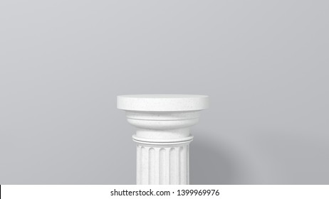 Exhibition stand,podium in the form of  classic Greek Doric column. Minimalistic light background with copy space. 3d render illustration for advertising goods, products, museum expansions.