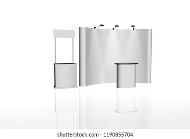 exhibition stands 3d rendering illustration