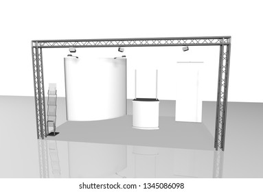 exhibition stands 3d rendering illustration exhibition expo