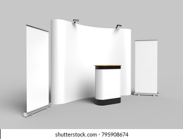 Exhibition Tension Fabric Display Banner Stand Backdrop for trade show advertising stand with LED OR Halogen Light with standees and counter. 3d render illustration.