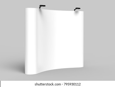 Exhibition Tension Fabric Display Banner Stand Backdrop for trade show advertising stand with LED OR Halogen Light. 3d render illustration.