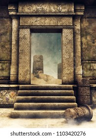 Exit gate of an ancient Egyptian tomb. 3D illustration.