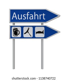 Exit sign with the symbols beer, bratwurst, bed and exit sign with the text exit in German. 3d rendering