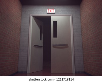 Exit signal in red glowing above the opened door. 3D illustration, conceptual image.