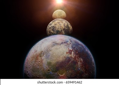 exo planets lit by an alien sun (3d render, elements of this image are furnished by NASA)