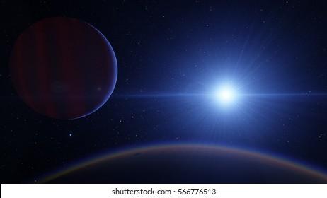 Exoplanet 3D illustration Jupiter ascending (Elements of this image furnished by NASA)