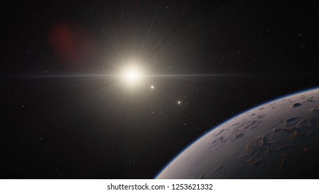 Exoplanet 3D illustration sunset orbital view, mountains craters planet from the orbit, world (Elements of this image furnished by NASA)