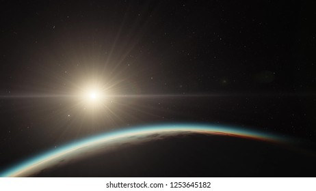 Exoplanet 3D illustration sunset orbital view, light green cloudy planet from the orbit, world (Elements of this image furnished by NASA)